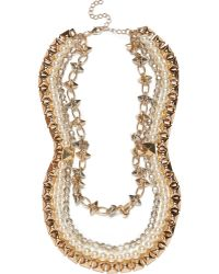 River Island Gold Tone Spike Diamante and Pearl Necklace - Lyst
