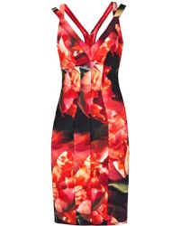 Nicole Miller Strappy Dress Red - Lyst