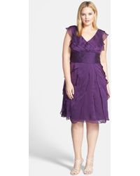 Adrianna Papell Chiffon Petal Gown - Lyst