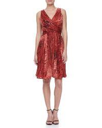Halston Heritage Sleeveless Accordionpleated Dress - Lyst