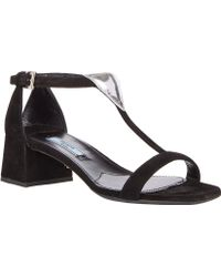 Prada Blockheel Tstrap Sandals - Lyst