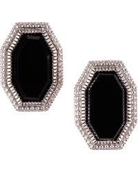 Judith Ripka - Modern Deco Onyx Button Earrings - Lyst
