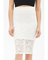 Forever 21 Floral Lace Pencil Skirt - Lyst