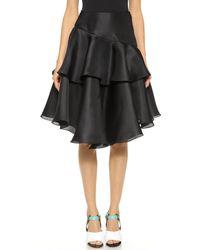 Prabal Gurung Tiered Ruffle Skirt - Black - Lyst