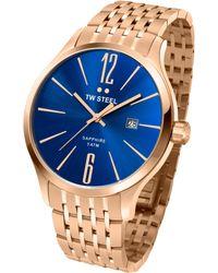 Tw Steel Unisex Slim Line Rose Gold Pvd Bracelet Watch 45mm - Lyst