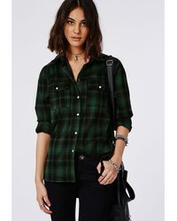 Missguided Tartan Oversized Shirt Green - Lyst