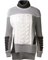 Prabal Gurung Tonal Grey and Cream Multi-knit Mid-weight Ribbed Wool Knit Pullover - Lyst