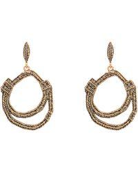 Oscar de la Renta Gold-Tone Doubled Hoop Drop Earrings - Lyst