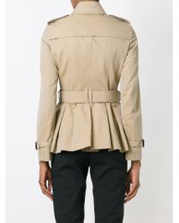 Burberry Brit - Short Cotton-Wool Trench Coat - Lyst
