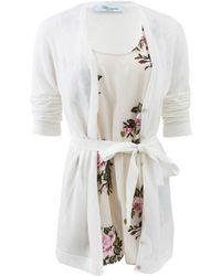 Blumarine Tie Waist Cardgian with Silk Shell - Lyst