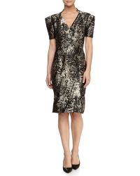 Zac Posen V-Neck Metallic Dress - Lyst