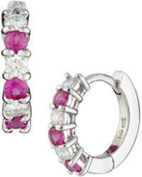 Roberto Coin Diamond & Pink Sapphire Mini Hoop Earrings - Lyst