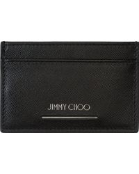 Jimmy Choo Black Textured Leather Card Holder - Lyst