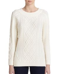 St. John Wool Cable-Knit Sweater - Lyst