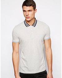 Asos Stripe Polo with Contrast Collar - Lyst