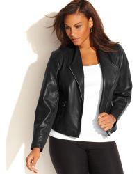 Calvin Klein Plus Size Leather Moto Jacket - Lyst