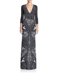 Roberto Cavalli Three-Quarter Sleeve Printed Gown - Lyst