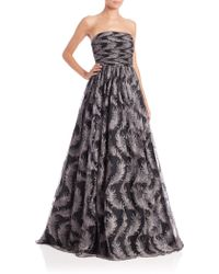 David Meister Strapless Feather Tulle Gown gray - Lyst