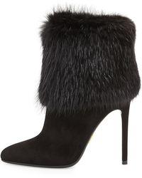 Prada Fur Trimmed Ankle Boot - Lyst