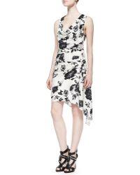 Haute Hippie Sleeveless Cowl-Neck Floral Dress - Lyst
