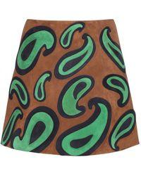Miu Miu Embellished Suede Miniskirt - Lyst