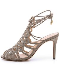 Alexandre Birman Suede Woven Sandals - Grey - Lyst