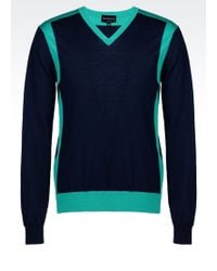 Emporio Armani Two-colour Jumper in Virgin Wool - Lyst