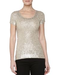 Donna Karan New York Sequined Wide-Neck Sweater - Lyst