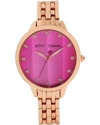 Betsey Johnson Women'S Rose Gold-Tone Bracelet Watch 35Mm Bj00411-03 pink - Lyst