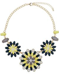 Topshop Green and Yellow Flowers Necklace  Green - Lyst