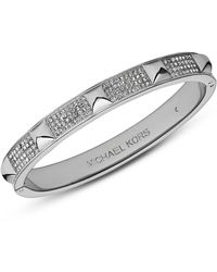 Michael Kors Silver Tone Pave Pyramid Bangle Bracelet - Lyst