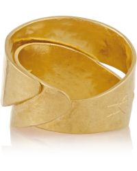 Herve Van Der Straeten Hammered Goldplated Ring - Lyst