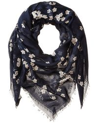 Alexander McQueen Blossom Square Scarf blue - Lyst