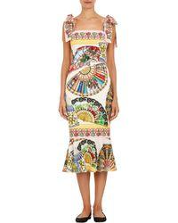 Dolce & Gabbana Fan-print Trumpet Dress - Lyst