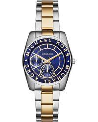 Michael Kors Ryland Two-Tone Stainless Steel Bracelet Watch silver - Lyst