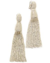 Oscar de la Renta Classic Chain Tassel Earrings - Silver - Lyst