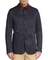 Giorgio Armani Leather-Collar Knit Jacket - Lyst