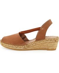 Andre Assous Dainty Leather Slip-on Espadrille Wedge - Lyst