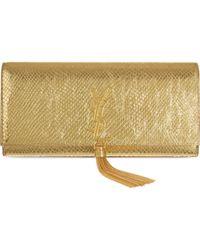 Saint Laurent Python Clutch Bag - For Women - Lyst