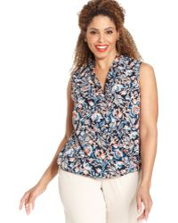 2369225aa59 Jones New York - Signature Plus Size Sleeveless Floralprint Fauxwrap Top -  Lyst
