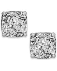 Kate Spade New York Silver-tone Metallic Glitter Stone Stud Earrings - Lyst