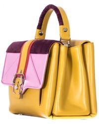 "Paula Cademartori Ocher Leather And Suede ""Petite Faye"" Bag yellow - Lyst"