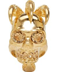 Alexander McQueen Gold Large Claw Skull Ring - Lyst