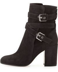 Gianvito Rossi Belted Suede Ankle Boot - Lyst
