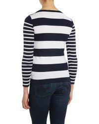 Lauren by Ralph Lauren - Striped Top with Button Shoulder Detail - Lyst