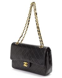 Chanel Preowned Black Quilted Lambskin Small Classic Double Flap Bag - Lyst