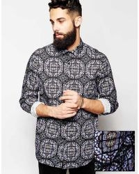 Asos Smart Shirt with Stained Glass Print and Long Sleeves - Lyst