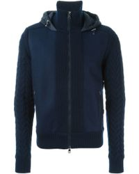 Moncler Knitted Sleeves Jacket blue - Lyst