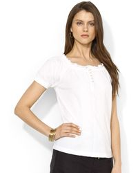 Lauren by Ralph Lauren Shortsleeve Smocked Embroidered Top - Lyst