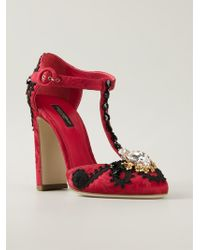 Dolce & Gabbana Vally Leather and Silk Pumps - Lyst